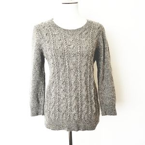 J. Crew Cable Knit Wool Crewneck Sweater